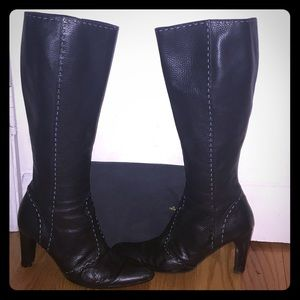 Auth Fendi Stitched Sz 10 knee high boots(40)